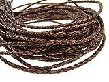 Ficelle en cuir rond tressé 4mm antique marron foncé–Longueur: Choix, Cuir, Antik Dunkelbraun, 3 mètres