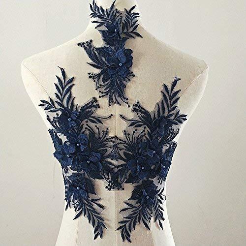 bridallaceuk 3D-Spitzenapplikation, Blumen-Aufnäher, ideal zum Basteln, Nähen, Kostüm, Abenden, Brautoberteil 3 in 1 A5 Navy