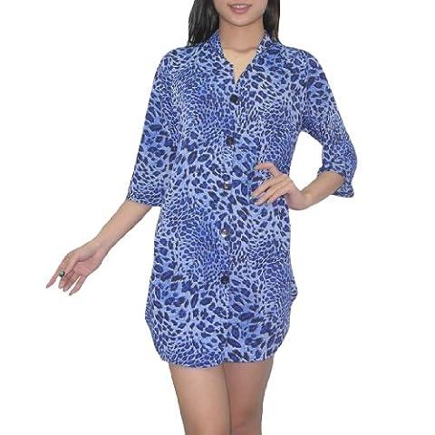 femmes Thai Bouton exotique manches 3/4 Bas Animal Print Flowing Blouse Top / Casual Dress - Royal Bleu & Noir (taille: M-L )