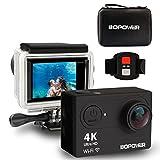 GooBang Doo 4K Wifi Ultra HD Resistente al Agua Cámara de Acción con 170 Grados Ultra Ancho ángel Lente, 2 PC de Larga Duración Baterías, 2.4G Controlador RF Inalámbrico