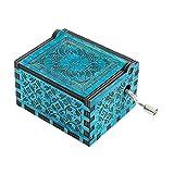 YouTang Lalaland Musik Box Handkurbel Spieluhr Geschnitzt aus Holz, Play Das Thema Lied von Lalaland Amelie Theme Blau