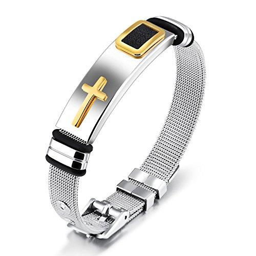 wertige Stahl Mesh Armband Gold Cross Titanium Steel Männer Persönlichkeit Armband (Gold-seil-kette Männer)