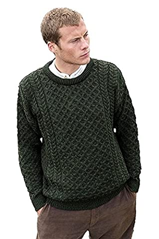 100% Merino Wool Aran Crew Neck Sweater, Green
