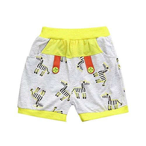 Prevently Sommer Jungen Shorts Kinder Zebra-Print Blumendruck Strand Shorts Hose Kleidung (Gelb, 3 Jahre/100)