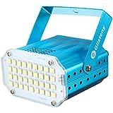 Lumiere Scene, GLISTENY LED Lumiere Stroboscopique Automatique Activee Reglable Taux Flash Reglable Colore Avec Pour Club Fete D'anniversaire, Bleu coquille, Blanc lampe