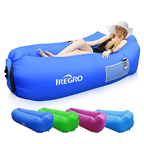 IREGRO Sofa Hinchable con almohada integrada y bolsa, tumbona hinchable, sofa inflable, portátil impermeable ligero poliéster aire sofá inflable ocioso, aire cama Tumbona de playa para viajes, piscina, Camping, parque, playa, patio trasero