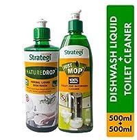 Herbal Strategi Toilet Cleaner 500ml, Dishwash Liquid 500ml (Pack of 2)