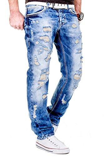 MERISH Hommes Jeans look totalement détruit RegularFit avec coutures épaisses design moderne patché idéal pour les Loisirs Modell J2064 Bleu