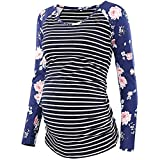 Amphia - Frauen-Umstandsmode Fütterungs-T-Shirt Breastfeeding SuitFrauen-Mutter-schwangeres Krankenpflege-Baby-Mutterschafts-Streifen-Blumenoberseiten-Blusen-Kleidung - (Blau,L)