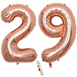 """2 Numero di Palloncini 29,Numero 29 Compleanno Decorazione Oro Rosa Ragazza,40"""" Palloncino a Foglio di Elio Gonfiabile,Happy Birthday Party Palloncino Gigante Prom Festa Party(XXXL 100cm)"""