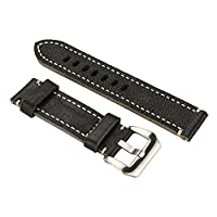 YOOMALL Leather Watch Strap 20mm / 22mm for Men and Women - (Brown and Black) (22mm, Black-1)