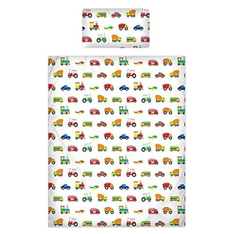 Parure de lit en 100 % coton 200 fils/pouce² avec motif voitures, camions, trains, avions, 100 % coton, blanc, Single Duvet Cover + 1 Pillowcase