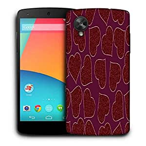 Snoogg Red Heart Purple Pattern Printed Protective Phone Back Case Cover For LG Google Nexus 5