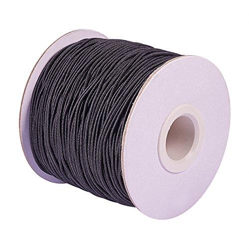 PandaHall Runde elastische Schnur mit Nylon 1 mm schwarz
