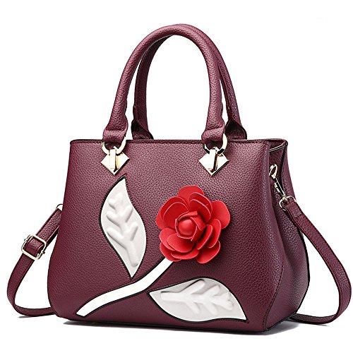Nero Borse Donna Fiore Messenger Bag Borse in Pelle Tote Borsa Style Borsetta Borgogna Borsa