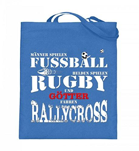 Hochwertiger Jutebeutel (mit langen Henkeln) - Fussball,Rugby,Rallycross Blau