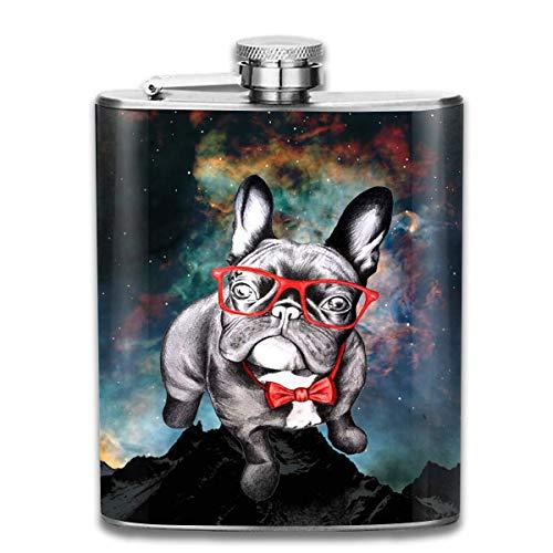 Gxdchfj 7 Unze Edelstahlflaschen Lustige französische Bulldogge mit Glas auslaufsicher Wein Likör Whiskyflasche Groomsman Brautjungferflasche
