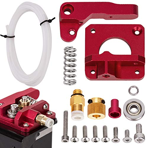 LUTER Aluminio Impresora 3D MK-8 Kit de unidad de alimentación del extrusor y tubo PEFT de tubo de teflón blanco (1 metro) para Makerbot Creality CR-10 Ender 3 1.75mm Filament