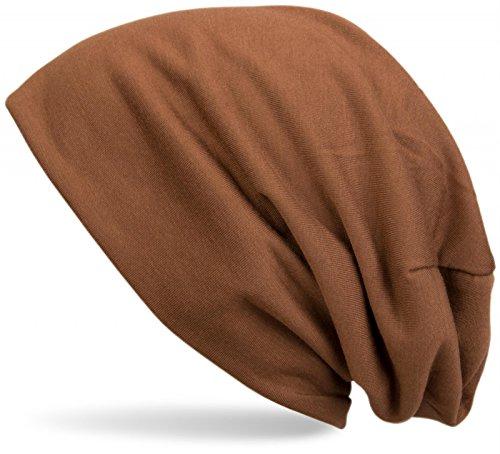styleBREAKER klassische Slouch Beanie Mütze, leicht und weich, Longbeanie, Unisex 04024018, Farbe:Cognac