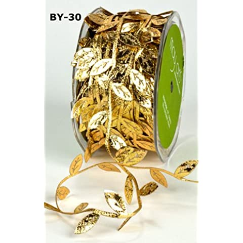 Gold Leaf Trim Satin Ribbon on 3m Length (N.B. this is a cut from a roll) by May Arts Ribbon