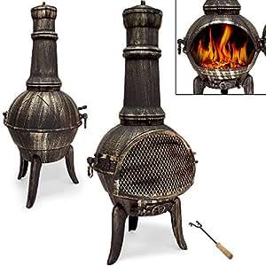 Terrassenofen aus Gusseisen- Gartenofen Gartenkamin Kamin Feuerstelle Feuerkorb