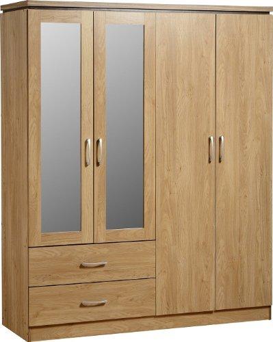 Seconique charles–armadio 4ante e 2cassetti, con specchio, effetto quercia con finiture in noce
