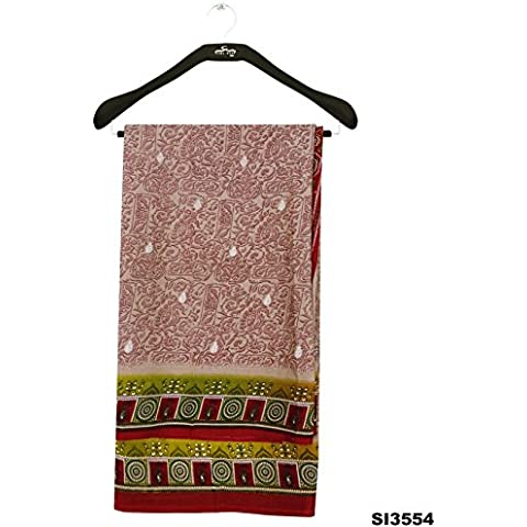 De moda Impreso Rosado marrón Mezcla india de Bollywood Sari Nueva abstracta mujeres se visten de seda sari 5YD