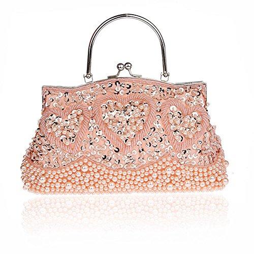 Harson&Jane Damen Vintage Beaded Pailletten Love Heart Kupplung Handtasche 'Nabend Partei Hochzeit Tasche Geschenk-Idee (Rosa) (Hochzeit Geschenk-taschen-ideen)