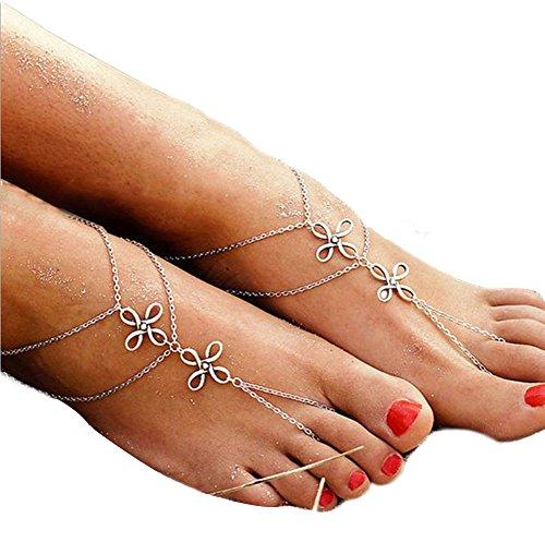 Hosaire Fußkettchen Mode Doppelkette Link Zeh Anhänger FußSchmuck Strand Schildkröte Fußkette Ketten für Freunde,Liebhaber Geburtstag Geschenk