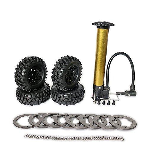 RCAWD Rc Rad Reifen Air-Filled Inflated 1.9 Bead Lock System für 1:10 Rock Crawler / Monster Truck Inflator Pump Inbegriffen Crushed Stone Tread 8 Speichen Rim 4Pcs(Titanium)