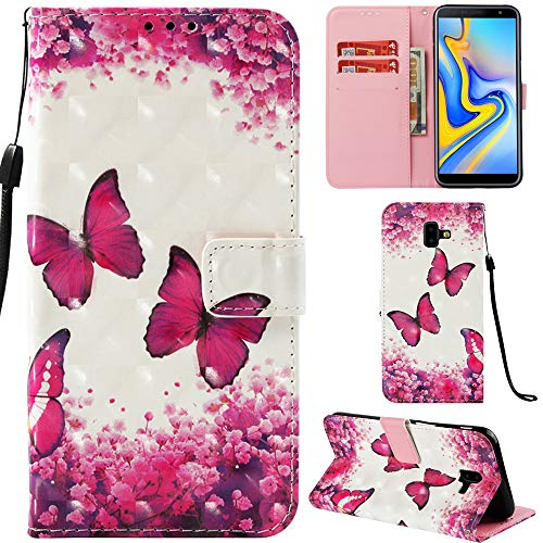 Ooboom Samsung Galaxy J6+ Plus Hülle 3D Flip PU Leder Schutzhülle Stand Handy Tasche Brieftasche Wallet Case Cover für Samsung Galaxy J6+ Plus - Schmetterling Rose