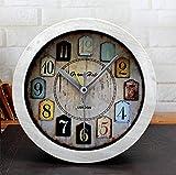 CWLLWC tischuhr standuhr,Kaminuhr Retro-alte Holz kleine Uhr Schlafzimmer Studie Desktop-Sitz
