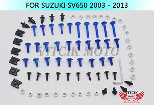 VITCIK Kits de boulons pour moto SV650 2003-2013 SV 650 03 04 05 06 07 08 09 10 11 12 13 attaches aluminium CNC (Bleu & Argent)