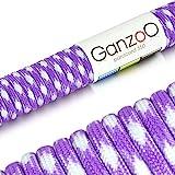 Paracord 550 Seil, 31 Meter, für Armband, Knüpfen von Hundeleine oder Hunde-Halsband zum selber machen / Seil mit 4mm Stärke / Mehrzweck-Seil / Survival-Seil / Parachute Cord belastbar bis 250kg (550lbs), Farbe: violett, weiß, Marke Ganzoo