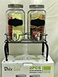 Homecart Table Top Beverage Dispenser with Stand (3 L, Clear) -2 Pieces