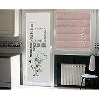 vinilo para cristales- COCINERA CON PALABRAS COCINA en diferntes idiomas, para puerta o ventana deja pasar la luz (50_x_195_cm)