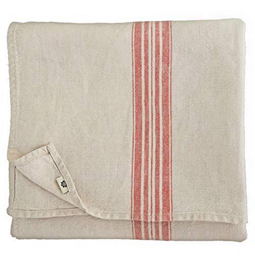 Linen & Cotton Vintage Shabby Chic Rustikal Tischdecke Provence - 100% Leinen, Beige Natur Rot (136 x 136 cm) Tischtuch Stoff Tischwäsche Quadratisch für Haus Home Küche Dekoration Wohnzimmer -