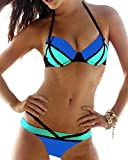 Toaho Damen Sexy Beach Strand Badeanzüge Push Up Bikini sets Bademode Swimwear Swimsuit Blau L