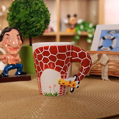 (Winpavo Becher Kaffeetassen Tassen Kaffeetasse-Paarbecher Der Kreativen Netten Stereoschale Der Tierischen 3D Wasserlöffel Mit Deckellöffelgeschenk, Giraffe)