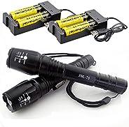 مصباح LED عدد 2 مصباح تكتيكي T6 مضاد للماء قابل للتكبير 5 أوضاع مع 18650 قابلة لإعادة الشحن
