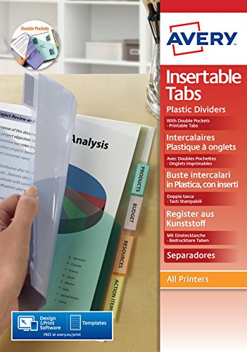 AVERY - Double pochettes intercalaires à onglets personnalisables et imprimables, 8 touches, Format A4+ (permet de classer des pochettes perforées), En polypropylène coloré translucide