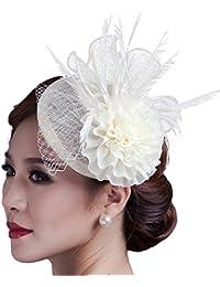 Pinza de pelo, Fascinator Clip Mujeres flor pluma de pelo adornos para la ceremonia de la boda