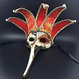 XJoel Luxe Cosplay Masquerade Plastic Venetian Princesse Masque italien Imprimer Art Masquerade Mask Giclee Rouge