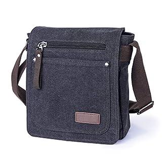 AIZBO Shoulder Bag Mens Lightweight Messenger Bag Retro Cross Body Bag Small Satchel Bag with Long Strap, Unisex Multi Purpose Canvas Man Bag (Black)
