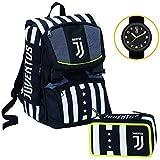 Juventus Schoolpack Winner Forever Zaino Estensibile più Astuccio 3 Zip Completo Di Cancelleria - Orologio Ufficiale Juventus