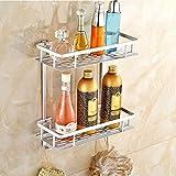 INDIAN DECOR 2845395 Bathroom Shelves, Metal 2 Tier Shower Shelf Caddy Storage Basket for Shampoo White