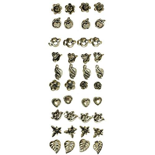 KurtzyTM Set di 40 (20 paia) Orecchini a Bottoncino Bronzo Antico Stile Boho