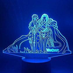 ZYQZYQ 3D Nachtlicht Illusion Lampe Led Spiel Warcraft Lich King Arthas Menethil Figur Kinder Schlafzimmer Dekor Kind Geschenk Nachttisch