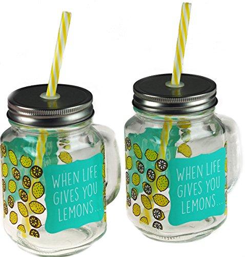 ken Mason Gläser mit Deckel Stroh-Zitronen Limonade ()