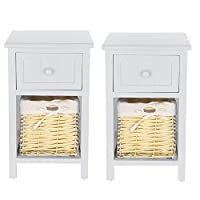 PetHot 2pcs Bedside Tables With Shabby Chic Wicker Basket Unit Drawers Cabinet Storage (Grey Tends To Light Blue)